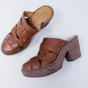 Born Leather Chunky Slip On Clog Mules Size 7